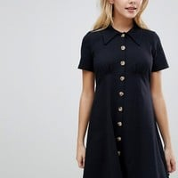 ASOS DESIGN Polo Shirt Dress With Tortoiseshell Buttons at asos.com