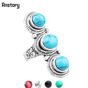 Long Turquoise Circle Ring Vintage Look Silver Plated Antique Black, Jade and Ruby and Ivory Colors