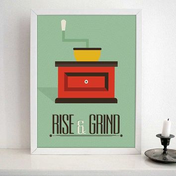 Kitchen Art - Coffee Quote Typography - Rise and Grind- retro design
