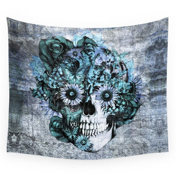 Society6 Blue Grunge Ohm Skull Wall Tapestry