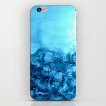 INTO ETERNITY, TURQUOISE Colorful Aqua Blue Watercolor Painting Abstract Art Floral Landscape Nature iPhone & iPod Skin by EbiEmporium