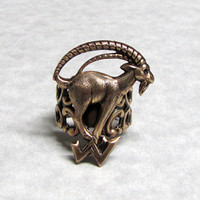 Mountain Long Horn Goat Ring by ranaway on Etsy