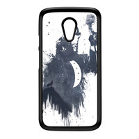 Wolf Song 3 Black Hard Plastic Case for Moto G2 by Balazs Solti