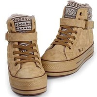 OASAP - Warm Cotton-padded Thick Platform Shoes with Lace-up Fastening - Street Fashion Store