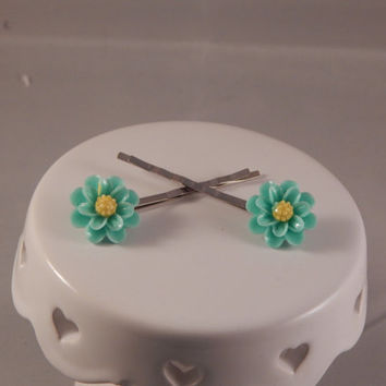 Resin Teal floral hairpin wedding flower girl under 10 birthday formal graduation gift idea prom bobbypins updo spring easter garden style