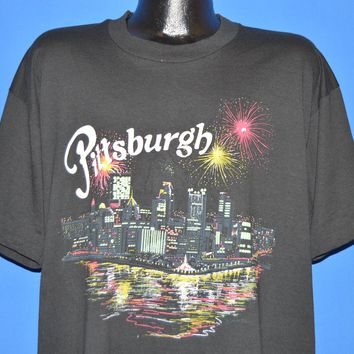 90s Pittsburgh City Skyline Fireworks t-shirt Extra Large