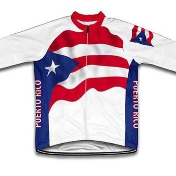 Winter Thermal Fleece or Thin New Puerto Rico USA Road Mountain Team Long pro Cycling Jersey 2 Chooses JIASHUO Customized