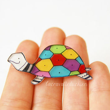 Turtle brooch, colorful jewelry, animal brooch