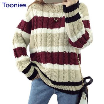 New Fashion Autumn Pullovers Womens Sweaters Streetwear Striped Thick Women Poncho Sweater Loose Pull Femme Manche Longue 2017