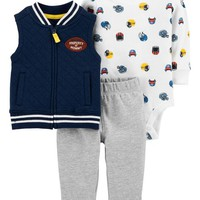 3-Piece Football Little Vest Set