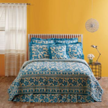 Briar - Azure - 9pc California King - Super Set - Cotton Flax - Quilt, 2 Luxury Quilted Shams, 2 Pillow Cases, Bed Skirt, 2 Quilted Euro Shams & Big Pillow! - Spring 2017