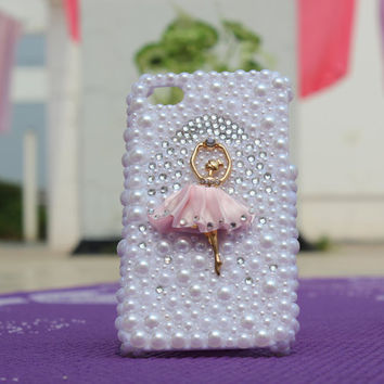 Bling pearl Drill ballet dancer iphone case by IPhoneCasesDIY