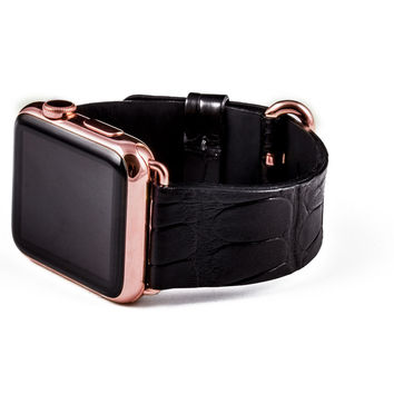 Hadoro apple watch gold rose alligator black