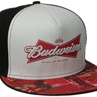 Budweiser Men's Flat Snap Back with Sublimated Brim, Black, One Size