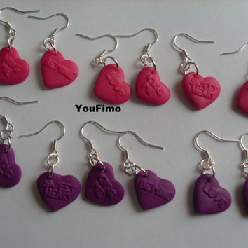 6 heart earrings (3 pairs) with messages (polymer clay)