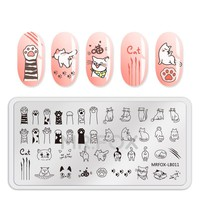 1PC Nail Art Stamping Template Animal Fruit Dog Cat Unicorn Feather Flower Leaf Stamp Nail Stamping Plates For Nail Polish