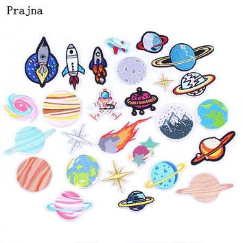 Prajna 30 Style /1 PCS UFO Alien Patches Astronaut Planet Embroidery Iron On Universe Parches For Clothing DIY Applique Badge