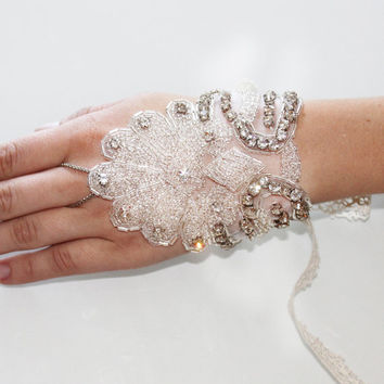 PAIR of Crystal Beaded 1920's Inspired Great Gatsby Bridal Glove Hand Chain Bracelet