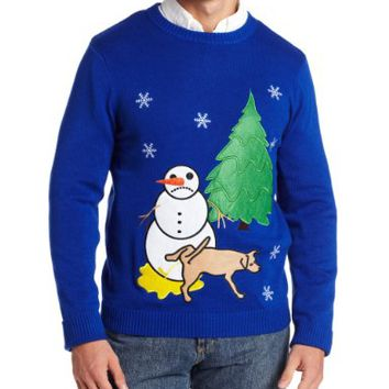 Alex Stevens Men's Sad Snowman Ugly Christmas Sweater