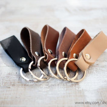 Thick leather key holder mens leather key chain brown leather keychain genuine leather key fob belt strap leather keychain leather key ring