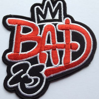 Michael Jackson Bad 25th Anniversary Iron on Patch / King of Pop Badge / MJ Applique Diy Bag, Tshirt, Hat, Scarf, Jeans - Free Shipping!