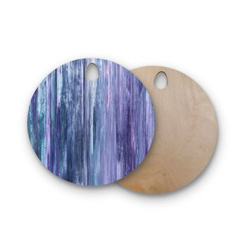 """Ebi Emporium """"Waterfall Blur, Purple Blue"""" Purple Blue Abstract Stripes Painting Mixed Media Round Wooden Cutting Board"""