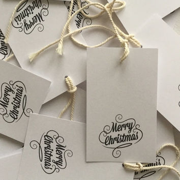 White Paper Christmas Tags, Merry Christmas Gift Tags, Baker's Twine, Holiday Bag Tag, Santa Gift, Christmas Wrap, Christmas Packaging