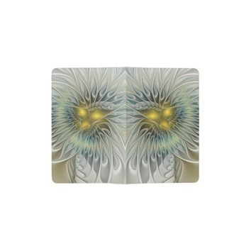 Golden Flower Fantasy, abstract Fractal Art Pocket Moleskine Notebook