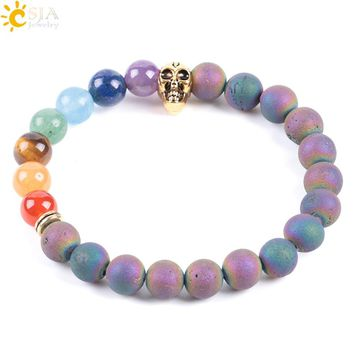CSJA Natural 7 Chakras Healing Stone Skull Mens Bracelets Colorful Raw Rock Ore Minerals Mala Yoga Beads Prayer Meditation E927