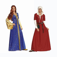 Women's Middle Ages Noblewoman Damsel Costume Dress Bonnet Renaissance Historical Reenactment Dress-Up Burda 7468 UNCUT Sewing Patterns