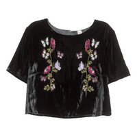 Embroidered Velvet Top - from H&M
