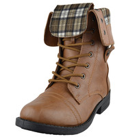 Womens Mid Calf Boots Fold Over Cuff Lace Up Combat Shoes Tan
