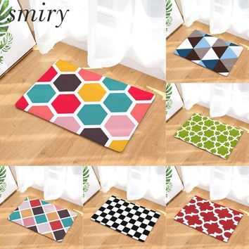 Smiry anti-skid colorfast in front of door mats rainbow color honeycomb geometry pattern rugs light flannel living room carpets