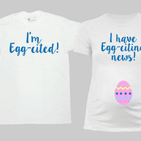 Matching Easter Shirts Couples T Shirt Expecting Parents To Be Gift Easter Pregnancy Reveal Maternity Shirt Baby Announcement - SA1042-1043