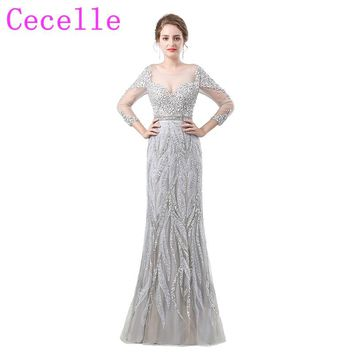 Silver Beading Crystals Long Luxury Prom Dress 2018 New Designer Couture Custom Made Prom Party Gowns Sparkly Evening Dress