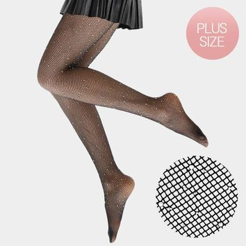 Clear Crystal Embellished Fishnet Pantyhose Tights
