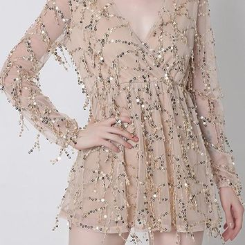 Streetstyle  Casual Apricot Sequin Homecoming Party V-neck Long Sleeve Fashion Mini Dress