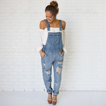 Down To Earth Boyfriend Denim Overalls