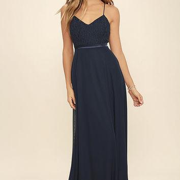 Stealing Kisses Navy Blue Lace Maxi Dress