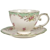Green Vintage Rose Cup and Saucer