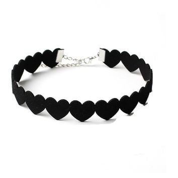 Black Love Heart Chokers Necklace for Women