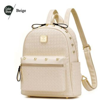 Student Backpack Children Beibaobao 2018 Woven PU Leather Backpacks For Teenage Girls Fashion Women Backpacks High Quality Rivet Students Backpacks B122 AT_49_3