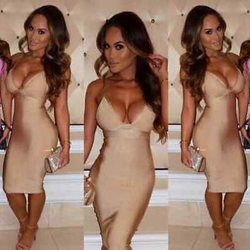 Celebrity bandage dress cocktail evening party sleeveless Blue Red Nude XS S M L