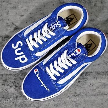 Vans X Champion X Supreme Old Skool Canvas Sneakers Sport Shoes
