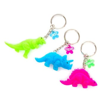 Best Friends Forever Fuzzy Dinosaur Keychains Set of 3