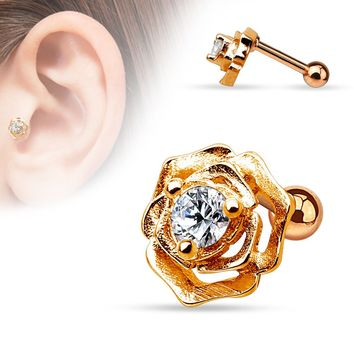 Clear CZ Centered Flower Rose Gold Plated Cartilage / Tragus Earring