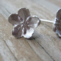 Silver Flower Earrings, Cast Silver Flower Posts, Botanical Jewelry, Forget Me Nots