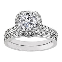 Engagement Ring - Cushion Diamond Bridal Set with Pave Set Round Diamonds 0.71 tcw. In 14K White Gold - ES457BS