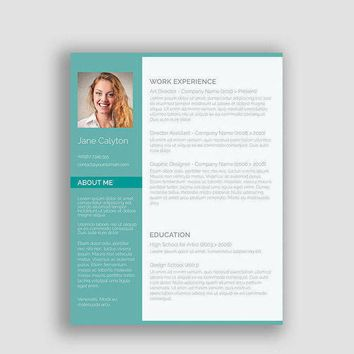 Professional Resume Template, CV Template for MS Word, Creative Resume, Modern Resume Design, Resume Instant Download green resume SALE