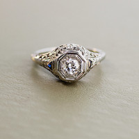 Antique Diamond Engagement Ring-14K White Gold and European Cut Diamond and Sapphires